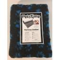 Vetbed tæppe koksgrå m/blå poter 75 x 100 cm.