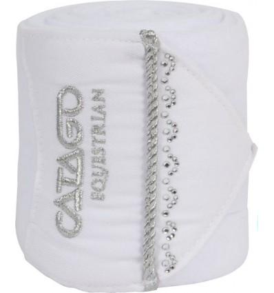 CATAGO Brilliant Fleecebandager med sølvpibe og sten Hvid