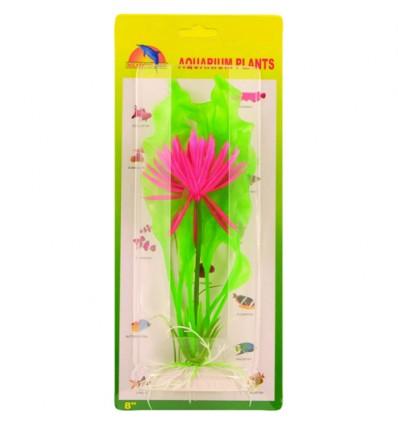 Plante med blomst i plast. 20 cm