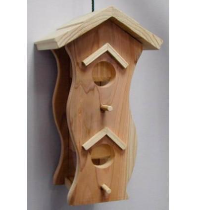 """Foder automat i træ """"Naturel"""" 15 x 13 x 18 cm."""